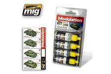 AMMO OF MIG A.MIG-7003 Acrylic Paint Set (4 jars) Olive Drab Modulation Set 17ml
