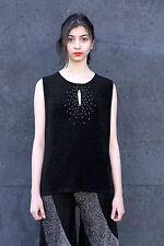 Damen Shirt Top schwarz mit Strass Steinchen 90er True VINTAGE 90s elegant shirt