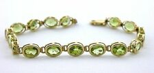 14Kt REAL Yellow Gold 7 1/4 Inch Arizona Peridot 8x6 Oval Gemstone Gem Bracelet