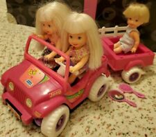 Kelly Doll Little Sister Tommy Power Wheels Jeep Wagon Set - Works!