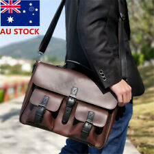 77b35bb8dc Men Large PU Leather Handbag Briefcase Messenger Laptop Satchel Shoulder Bag  New