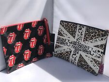 2x Retro Rolling Stones Union Jack Cosmetic Travel Bag Toiletry Makeup Zip Pouch