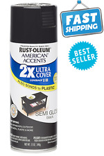 2X Spray Paint Rust Oleum American Accents Ultra Cover Semi- Gloss 12 oz. Black