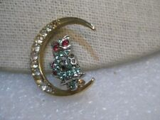 "Vintage Pair of Owls & Moon Rhinestone Brooches, 1-1/8"" tall/wide, 1940's/1950's"