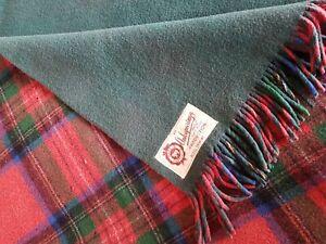 VINTAGE Onkaparinga Royal Stewart red tartan green backed rug blanket PURE WOOL