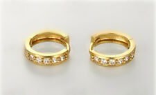 Shiny 18K Real Gold Plated Huggie Hoop Circle Cubic Zirconia CZ Earrings Gift