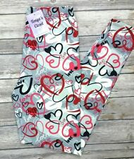PLUS Size Heart Love Print Leggings Pink Red Hearts Printed Curvy 10-18