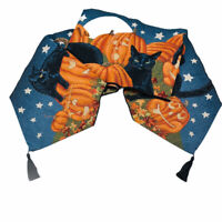 "Halloween Fun Pumpkins Black Cats Full Moon Sky 72"" Tapestry Table Runner"