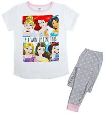 Womens Character Pyjamas Full Length Short Sleeve Cotton PJs Ladies Size UK 8-22 Princess - I Woke up Like This 16-18