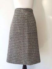 Valentino Wool Stretch A-Line Skirt in Black / Cream Check 44 8