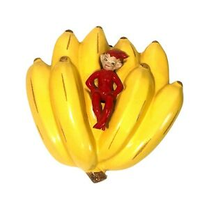Vintage 1950's Gilner Ceramic Red Elf Pixie on Bananas Wall Pocket Vase