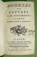[PHILIPON de La MADELAINE] - Modèles de lettres sur différents sujets - 1776