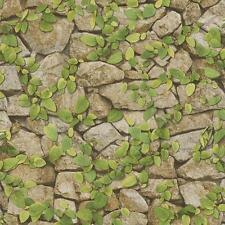 Stone Wall Pattern Wallpaper Faux Effect Vine Leaf Motif 476408 by Rasch Becker