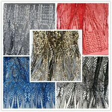 Sequins Mesh Embroidery Fabric Tulle Voile Wedding Prom Dress Costume Shiny Trim