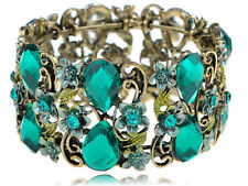Vintage like Blue Zircon Crystal Rhinestone Flower Fields Garden Bracelet Cuff