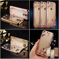 Luxury Clear Diamond Soft TPU Silicone Back Case Cover For iPhone 7 Plus Samsung