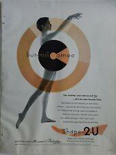 1955 Mujer Burlington Bur-Mil Camafeo Medias las Medias Piernas Forma 2U Anuncio