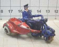 """VINTAGE 1930s CHAMPION CAST IRON MOTORCYCLE & SIDECAR BLUE & RED 4"""" HUBLEY"""