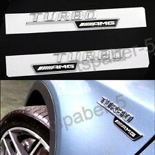 Pair Chrome Tubro AMG Emblem fender badge Car Body Side Skirts Sticker Decal GLA