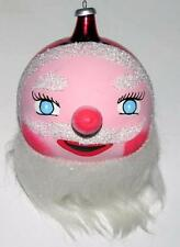 Vtg Mid Century Mouth Blown Italy Xmas Ornament Hand Painted Santa Face, Glitter