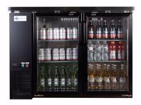 A.C.E. BackBar Bottle Cooler Double Glass Door Stainless-Steel Interior 12 Cu.Ft