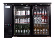 Ace Backbar Bottle Cooler Double Glass Door Stainless Steel Interior 12 Cuft