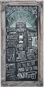 Rustic Torched Wood Vertical Frame Chalkboard, Wall Mount Erasable Message Board