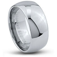 Men's 10mm Wide Tungsten Carbide Band Comfort Fit Ring Round High Polish -TCR048