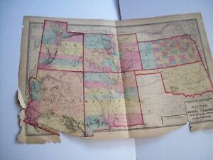 Antique 1872 MAP Kansas Arizona Colorado NM Utah Indian Territories H.H. Lloyd