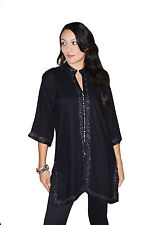 Ethnic Caftan Women Tunic Shirt Summer Cotton Moroccan Casual Blouse Large