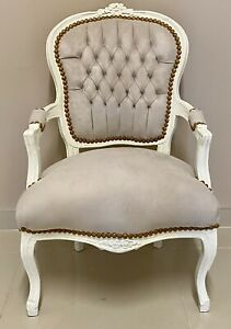 French Louis Style Shabby Chic Chair Beige Mink Fabric with Cream Frame