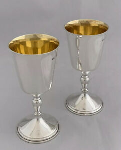 Pair Of Sterling Silver SHERRY Goblets Or Wine Cups 1974 DEAKIN & FRANCIS