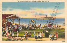 Norfolk Virginia~Ocean View Amusement Park~Airplane Ride~Ticket Booth 10c~1945