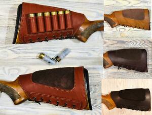 Real Leather Shotgun Shell Buttstock Holder Cover Cheek Rest Padded - 12 ga