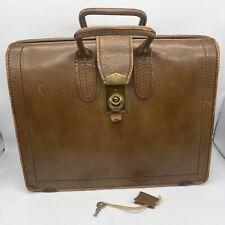 geniuine top grain cow hide vintage brief case with key