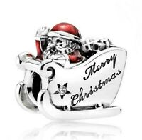 925 Sterling Silver Charm Sleighing Santa Merry Christmas Charm