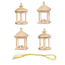 Darice Christmas Lantern Ornament: Gold, 1 inch, 4 pieces, 2 Assorted Styles w