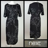 Next Black and White Floral Print Belted Smart Midi Dress Size UK 12
