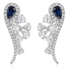 14K WHITE GOLD DIAMOND PEAR HALO BLUE SAPPHIRE LEVERBACK DANGLE EARRINGS