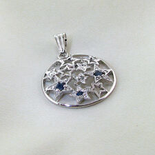 Blue Sapphire and Platinum Overlay Sterling Silver Pendant WITH Appraisal $1,000