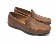 Ecco Men Dress Shoes EU 41 Brown Pebbled Leather Loafers Moccasins Extra Wide