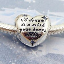 925 Sterling Silver Disney Cinderella's Dream Heart Charm Cart + gold gift box