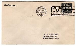 #623 Woodrow Wilson 17c 1925 FDC - New York NY Nickles