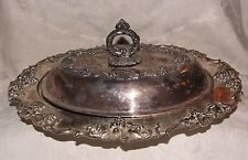 Heavy Victorian Silverplate Covered Platter Barbour Silver 1892-98 Grape Vine
