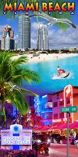 "Miami Beach Towel Collage Florida Ocean Drive Souvenir Pool 30""x60"""