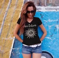 ALICE IN CHAINS Women Black V-neck T-shirt Metal Band Tee Grunge Shirt