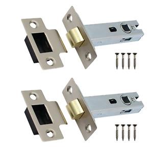 Satin Tubular Latch Mortice Internal Door Catch PACK OF 2 Interior Lock Handle