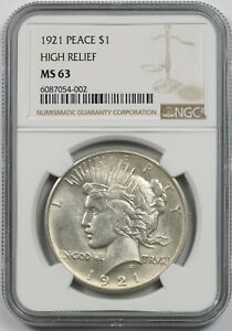 1921 Peace $1 NGC MS 63 (High Relief) Silver Dollar