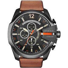 New Diesel Mega Chief Chronograph Black Brown Leather Strap Men's Watch DZ4343