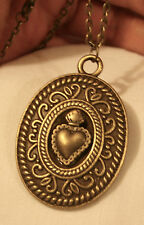 Vintage Swirl Rim Etched Flaming Sacred Heart Medal Brasstone Pendant Necklace